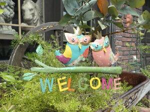 アイアン トレリス フェンス ガーデニングガーデン 雑貨 つる アンティーク【花遊び】『カラフルガーデン♪ウエルカムサイン・ふくろう』