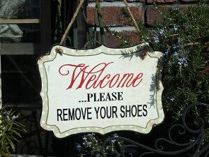 ハンギング ガーデニング ガーデン『welcomeプレート・REMOVE YOUR SHOES』