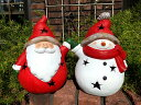 クリスマス サンタ スノーマン ガーデニング ガーデン『まんまるサンタ&スノーマン』