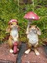 うさぎ ラビット バード 置物 樹脂 アニマル動物 雑貨 ガーデニング ガーデン【花遊び】『ラビット!きのこハット&アンブレラ』