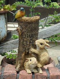 ガーデニング ガーデン 雑貨『なかよしラビット&小鳥』