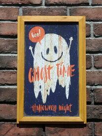 ハロウィン かぼちゃ パンプキン オーナメント『happyハロウィンボード・スマイルゴースト』