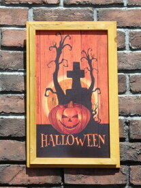 ハロウィン かぼちゃ パンプキン オーナメント『happyハロウィンボード・クロスパンプキン』