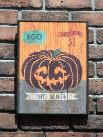 ハロウィン かぼちゃ パンプキン オーナメント『happyハロウィンボード・スマイルパンプキン』