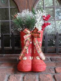 クリスマス サンタ スノーマン トナカイオーナメント ポプリ ガーデニング ガーデン アンティーク【花遊び】『LED・レッドブーツ』