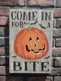 ハロウィン かぼちゃ パンプキン オーナメント『PUMPKIN COME IN FOR BITE』