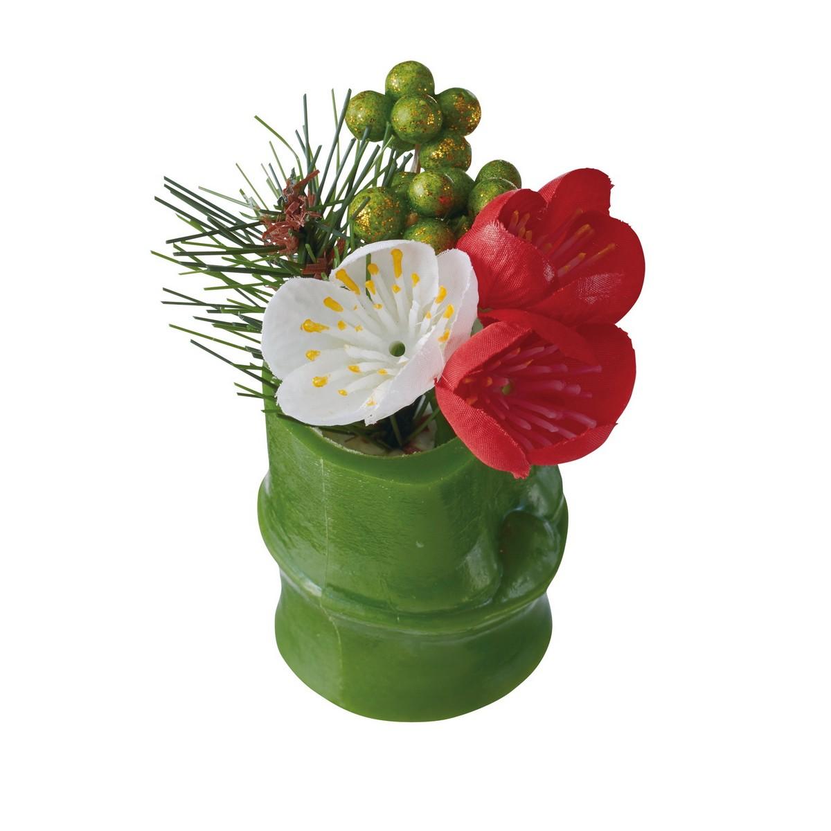 【造花】YDM/ミニ竹アレンジポット梅 レッドホワイト/FS -5213-R/W【01】【取寄】《 造花(アーティフィシャルフラワー) 造花ギフト フラワーアレンジ 》