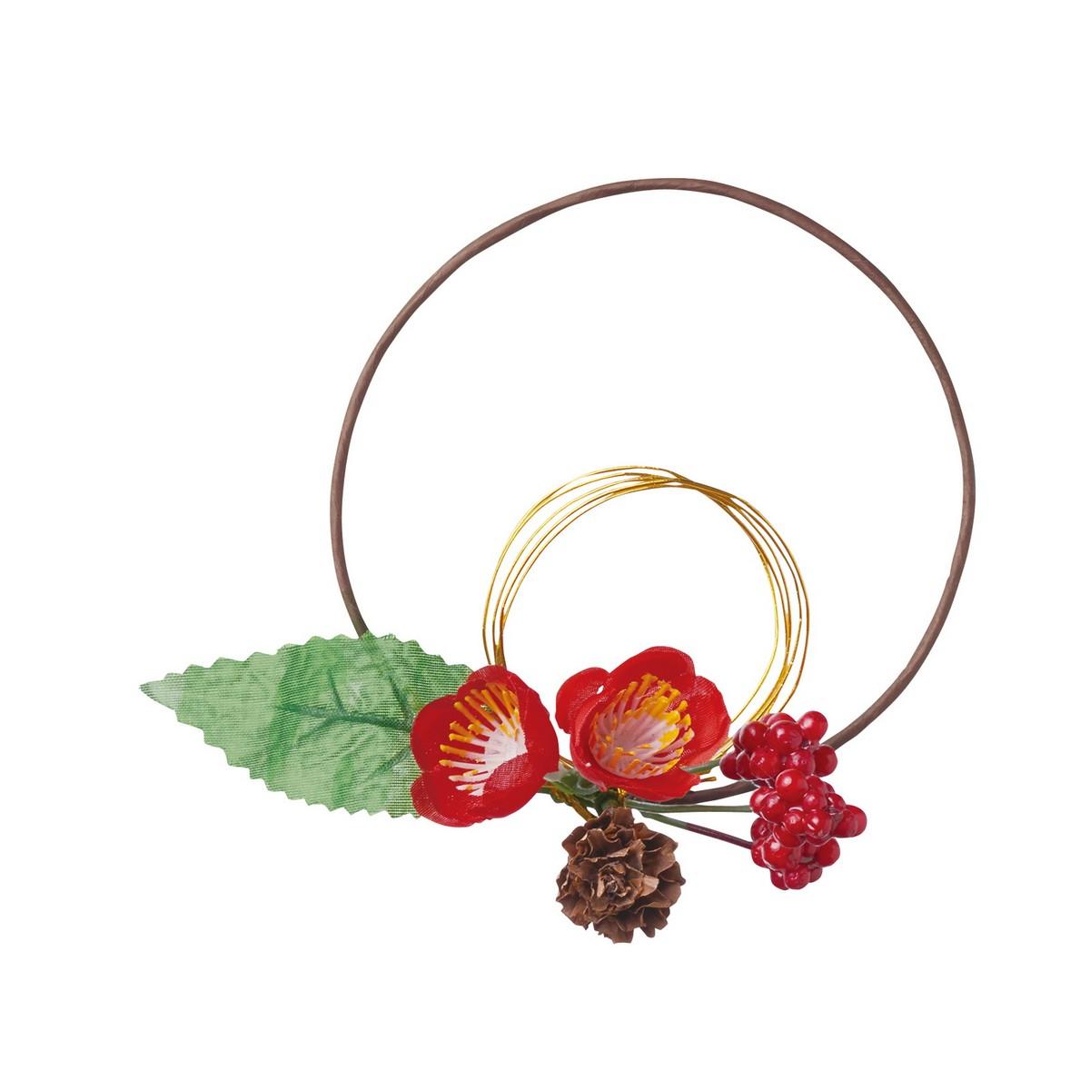 【造花】YDM/迎春水引リースアレンジ梅 レッド/FS -5216-R【01】【取寄】《 造花(アーティフィシャルフラワー) 造花枝物 松 》