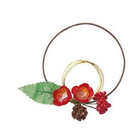 【造花】YDM/迎春水引リースアレンジ梅 レッド/FS -5216-R【01】【01】【取寄】《 造花(アーティフィシャルフラワー) 造花枝物 松 》