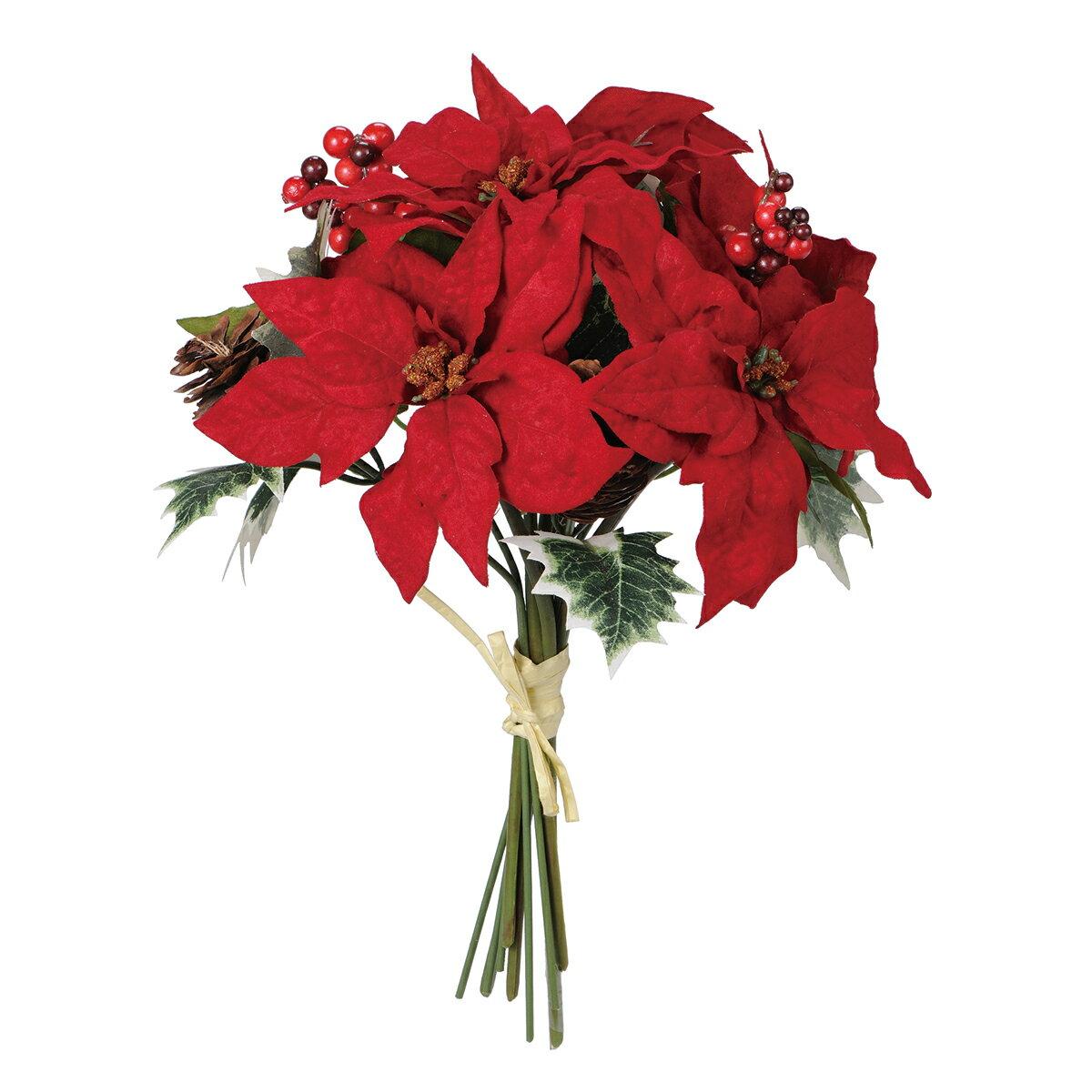 【造花】MAGIQ(東京堂)/ノエリア ポインブーケ RED /FX004197【01】【取寄】《 造花(アーティフィシャルフラワー) 造花 花材「は行」 ポインセチア 》