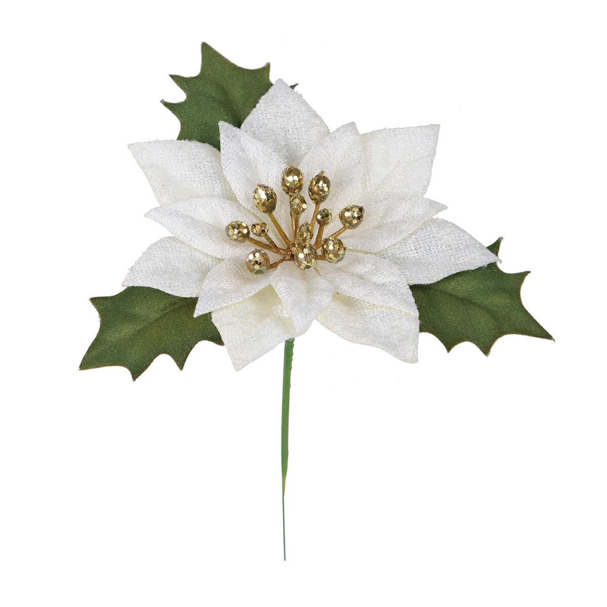 【造花】MAGIQ(東京堂)/ミニブライトポインピック #37 CREAM 4本/FX004819-037【01】【取寄】《 造花(アーティフィシャルフラワー) 造花 花材「は行」 ポインセチア 》