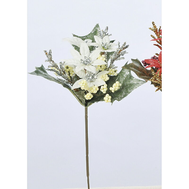 【造花】アスカ/ミニポインセチアピック ホワイト/AX68507-1【01】【01】【取寄】《 花資材・道具 フラワーピック イベントピック 》