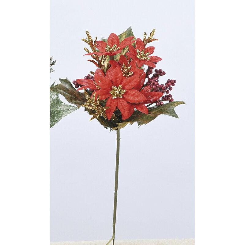 【造花】アスカ/ミニポインセチアピック レッド/AX68507-2【01】【01】【取寄】《 花資材・道具 フラワーピック イベントピック 》