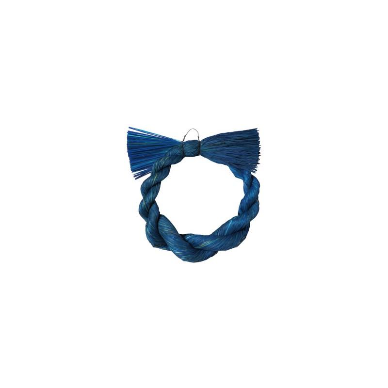 パレ/変形〆縄リース22cm ネイビーブルー/P-1434-M【01】【取寄】《 花器、リース しめ縄・お正月リース 稲わら 》