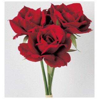 即日 【造花】アスカ/ベルベットローズバンチ(1束3本) レッド/A-32278-2《 造花(アーティフィシャルフラワー) 造花 花材「は行」 バラ 》