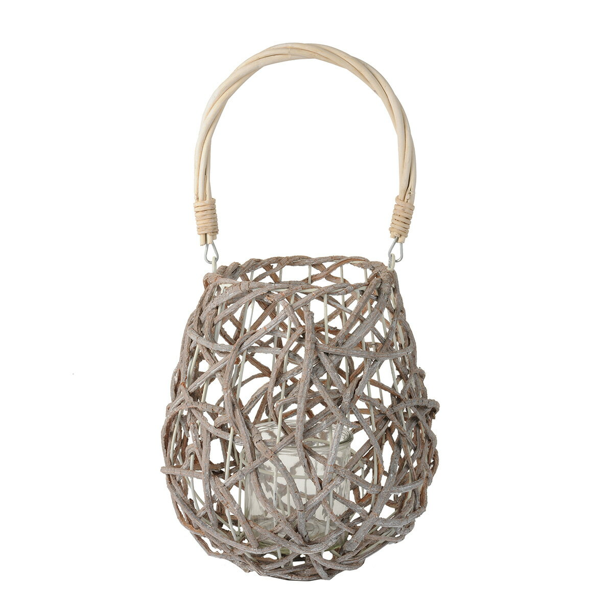 グラス付編みかごランタンL/KC008223【01】【取寄】《 花器、リース 花器・花瓶 バスケット(花かご) 》