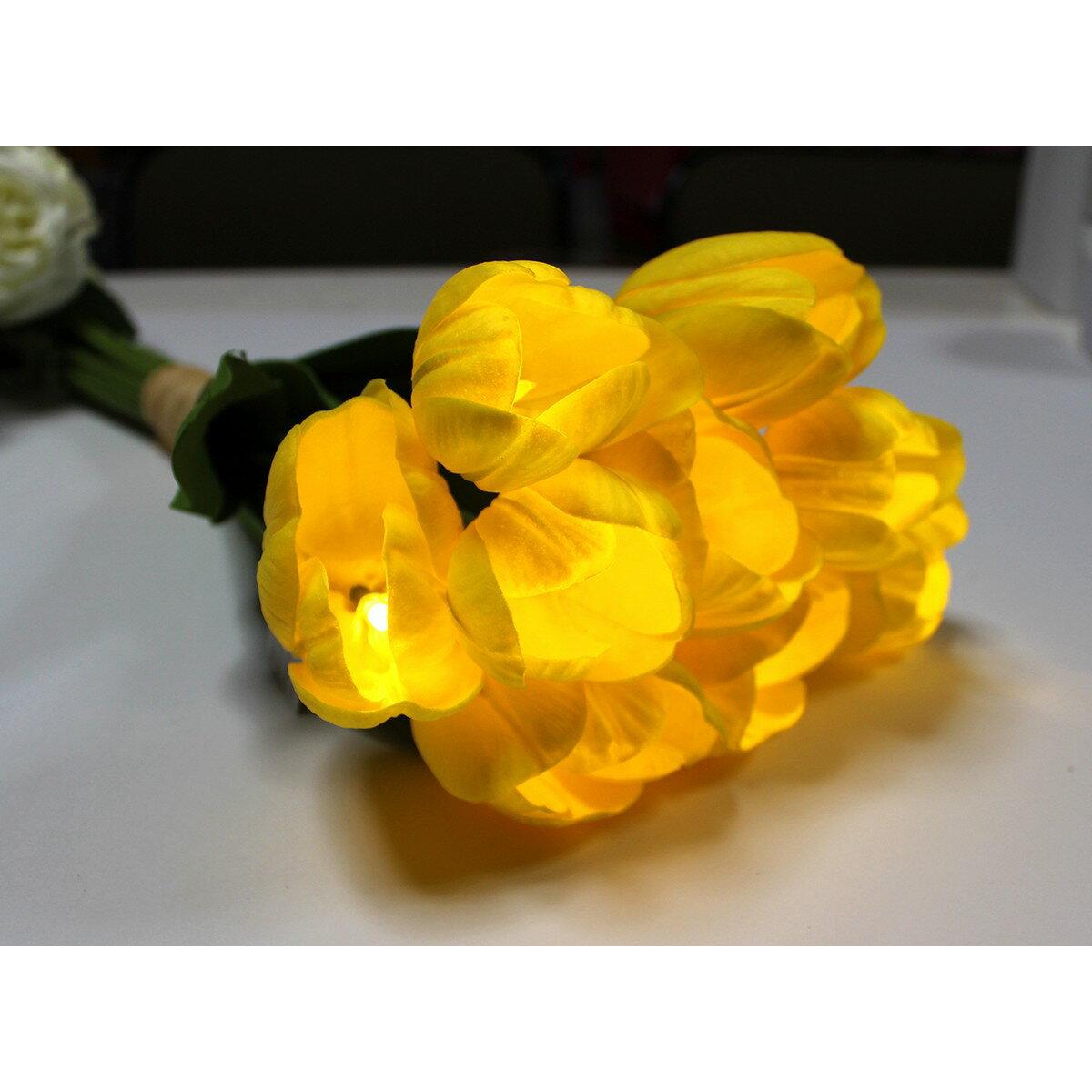 【造花】Gracias/LEDフラワーチューリップ イエロー 9輪/100033【01】【01】【取寄】《キャンドル LEDキャンドル・ロウソク モチーフLEDキャンドルキャンドル》