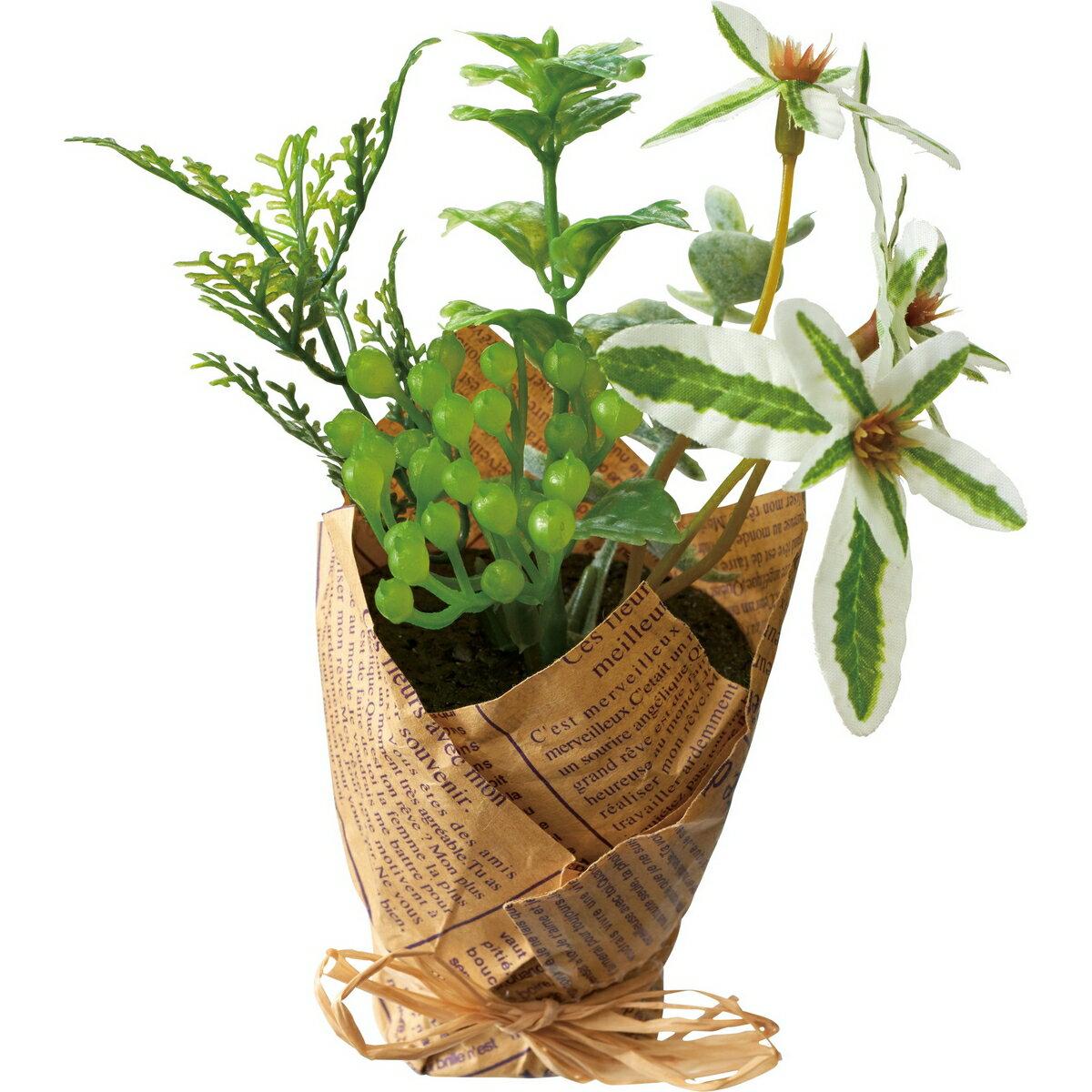 【造花】YDM/グリーンポットハーブミックス ホワイトグリーン/GLA-1414-WGR【01】【取寄】《 造花(アーティフィシャルフラワー) 造花ギフト フラワーアレンジ 》