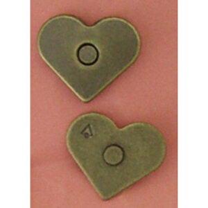 ジャスミン/ハートマグネットボタン 5組 アンティークゴールド/M28-AG【07】【取寄】 手芸用品 持ち手・金具 マグネットボタン 手作り 材料