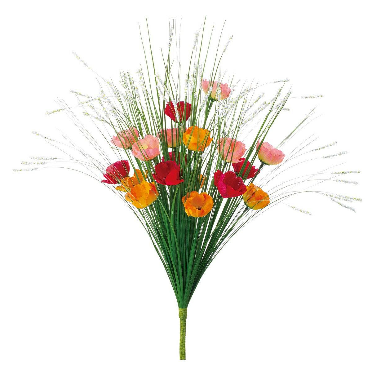 【造花】YDM/グラスミニアネモネブッシュ オレンジ/レッド/FP-5024-R/O【01】【取寄】《 造花(アーティフィシャルフラワー) 造花ギフト 仏花 》
