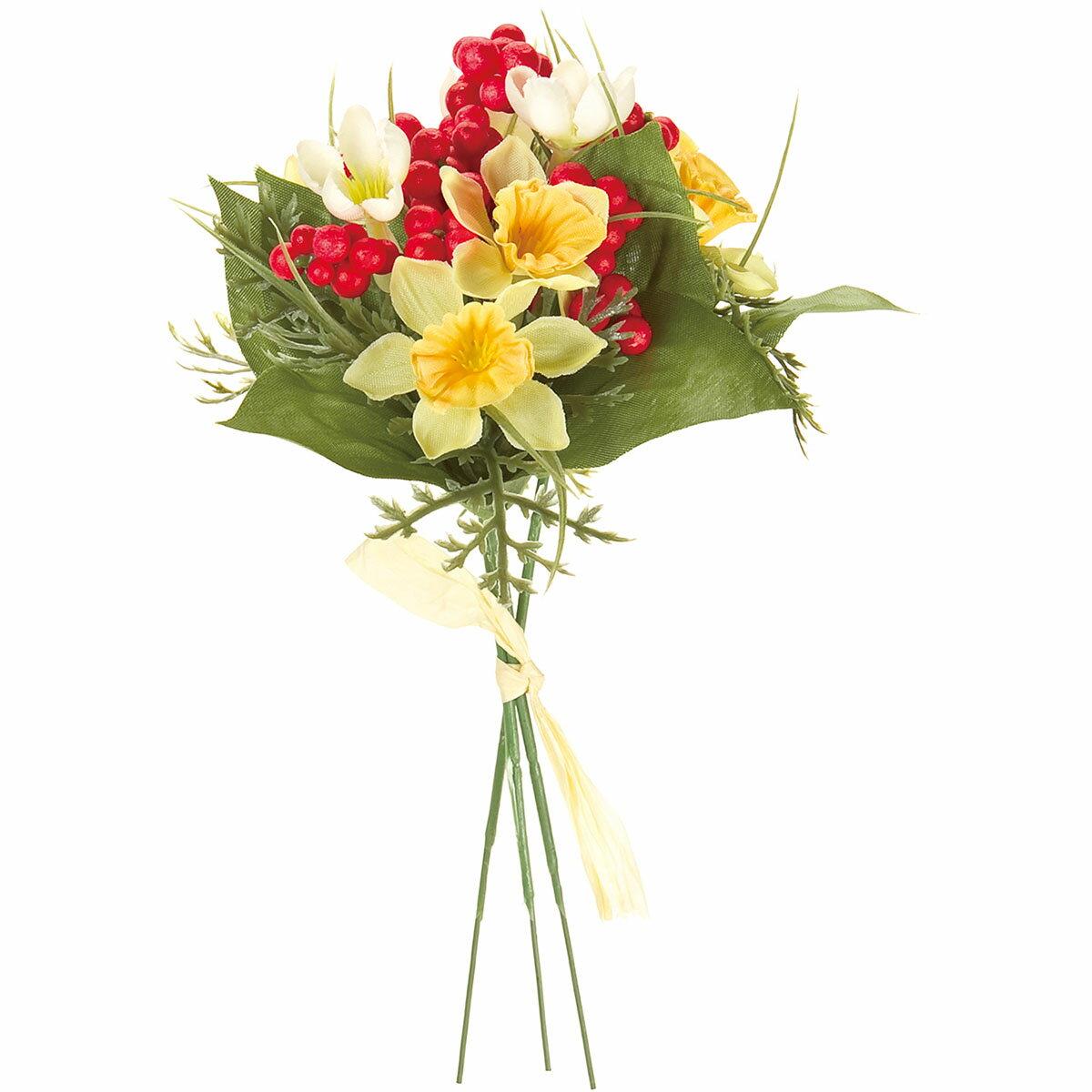 【造花】MAGIQ(東京堂)/水仙ベリーバンドル #4 イエロー/FJ003360-004【01】【取寄】《 造花(アーティフィシャルフラワー) 造花 花材「さ行」 スイセン(水仙) 》