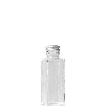 即日★ハーバリウム瓶(角)100ml アルミ銀キャップ付【00】《花資材・道具 ハーバリウム材料 ハーバリウム オイル》