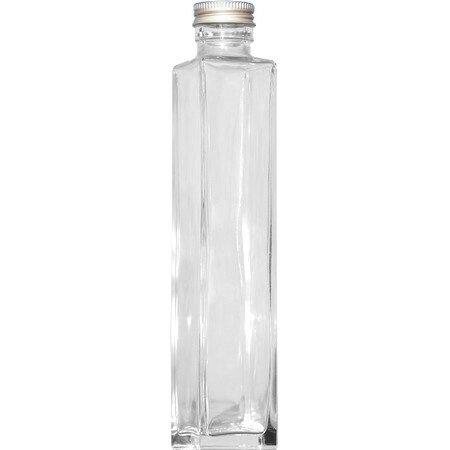 即日★ハーバリウム瓶(角)200ml アルミ銀キャップ付【00】《花資材・道具 ハーバリウム材料 ハーバリウム オイル》