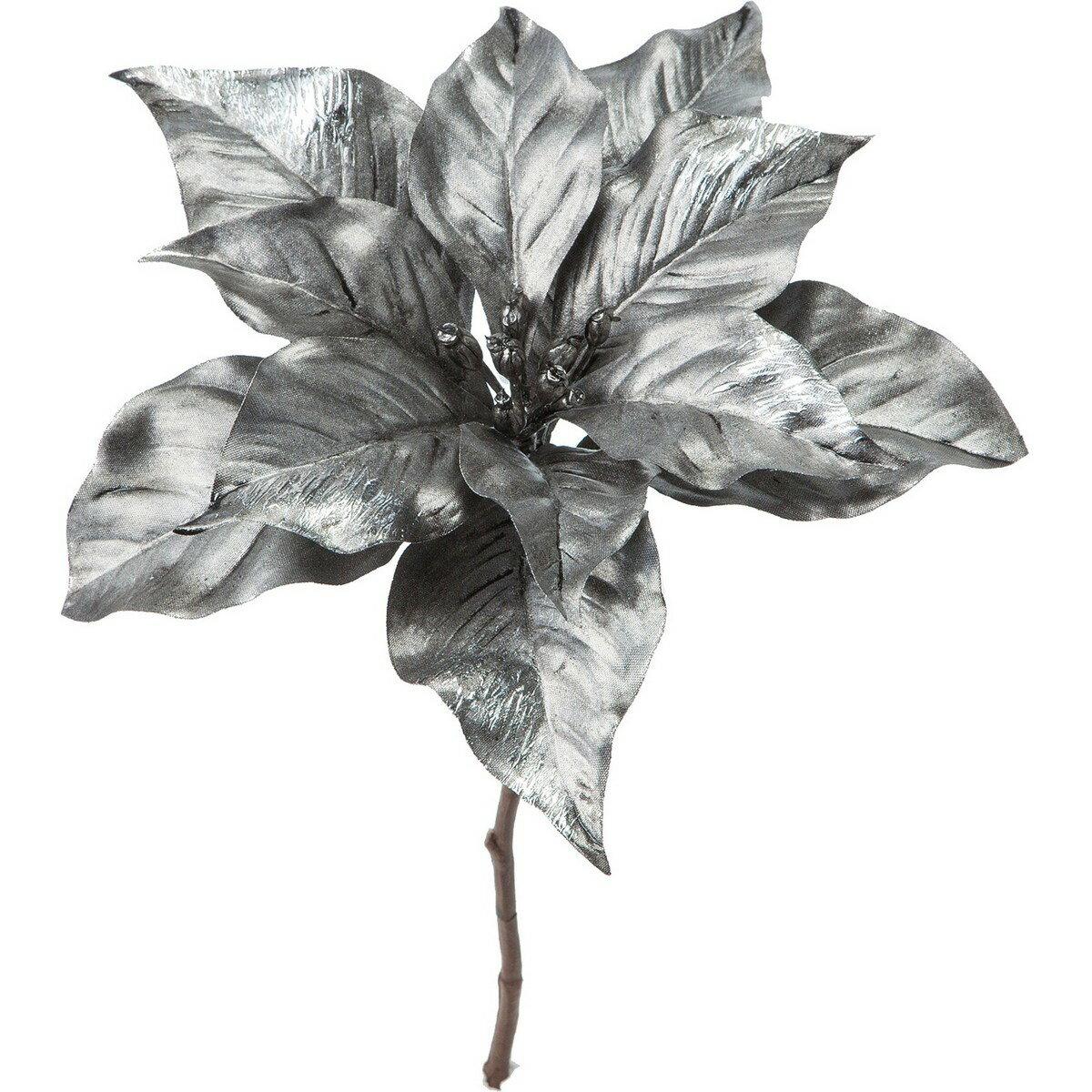 【造花】YDM/メタリックポインセチアショート グレー/FS-6963-GRY【01】【取寄】《 造花(アーティフィシャルフラワー) 造花 花材「は行」 ポインセチア 》