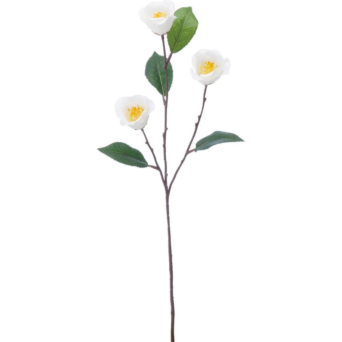 【造花】YDM/サテンツバキ ホワイト/FS-5233-W【01】【取寄】《 造花(アーティフィシャルフラワー) 造花 花材「た行」 ツバキ(椿) 》