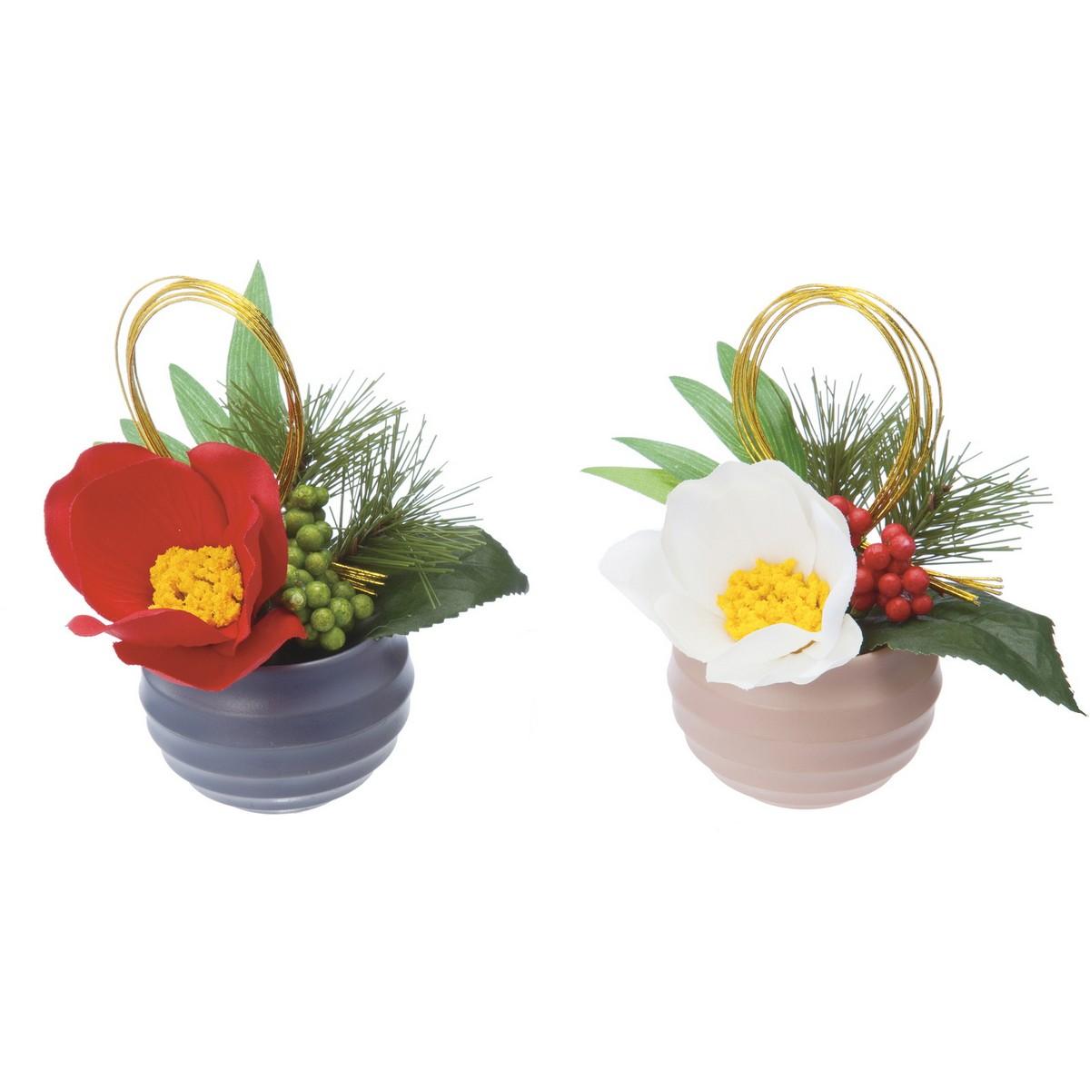 【造花】YDM/正月アレンジプラポットツバキ ※2種類のいずれか1つ。お選びいただけません。/FS-5239-AST【01】【取寄】《 造花(アーティフィシャルフラワー) 造花ギフト フラワーアレンジ 》