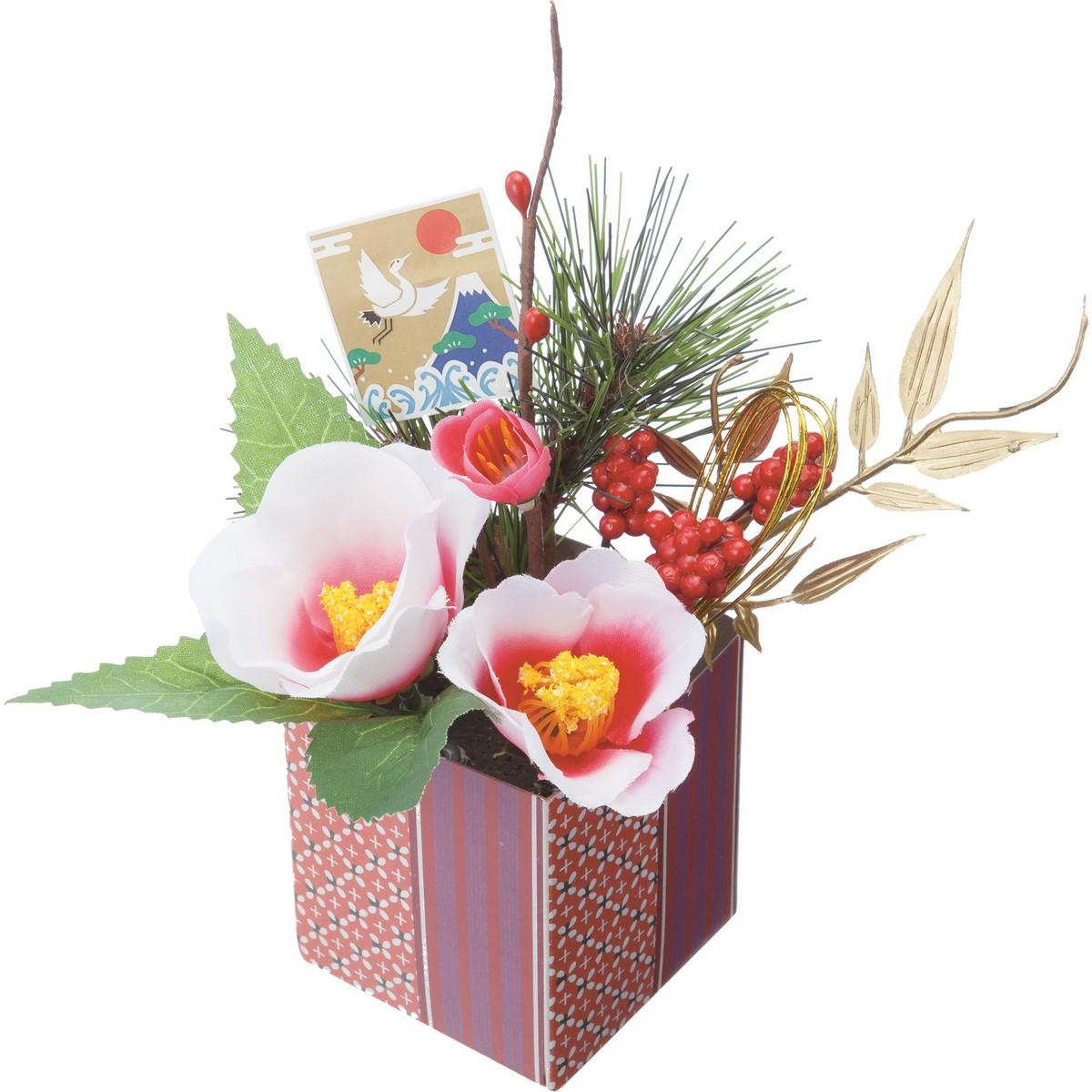 【造花】YDM/迎春アレンジポット椿 ビューティー ※2種類のいずれか1つ。お選びいただけません。/FS-5238-BTY【01】【取寄】《 造花(アーティフィシャルフラワー) 造花ギフト フラワーアレンジ 》