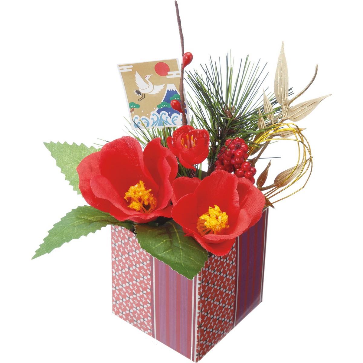【造花】YDM/迎春アレンジポット椿 レッド ※2種類のいずれか1つ。お選びいただけません。/FS-5238-R【01】【01】【取寄】《 造花(アーティフィシャルフラワー) 造花ギフト フラワーアレンジ 》