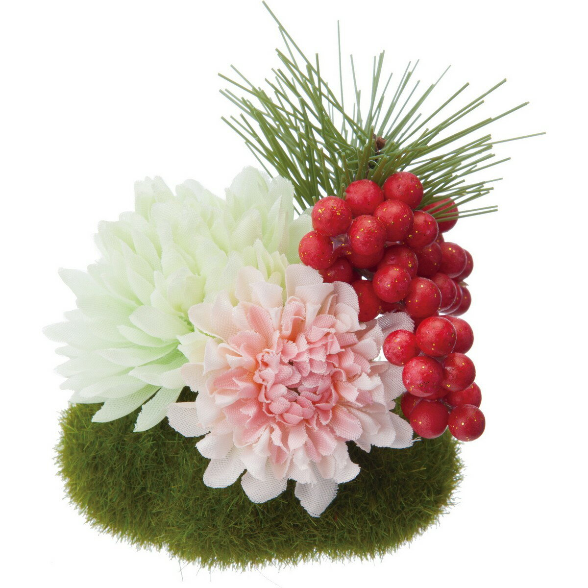 【造花】YDM/ミニ苔玉アレンジマム グリーン/FS-5259-GR【01】【取寄】《 造花(アーティフィシャルフラワー) 造花ギフト フラワーアレンジ 》