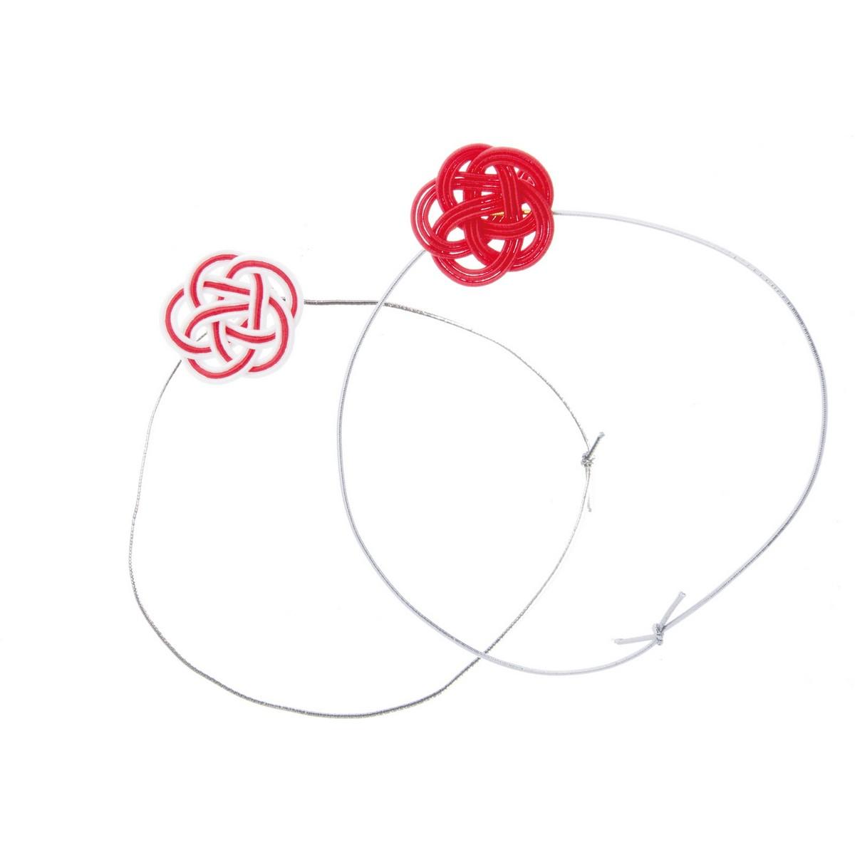 【造花】YDM/水引紅白梅飾りバンド 2個入/NIID-007【01】【取寄】《 造花(アーティフィシャルフラワー) 造花 花材「あ行」 ウメ(梅) 》