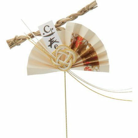 YDM/扇しめ縄ピック 金/NKSD-039【01】【取寄】《 花資材・道具 フラワーピック イベントピック 》