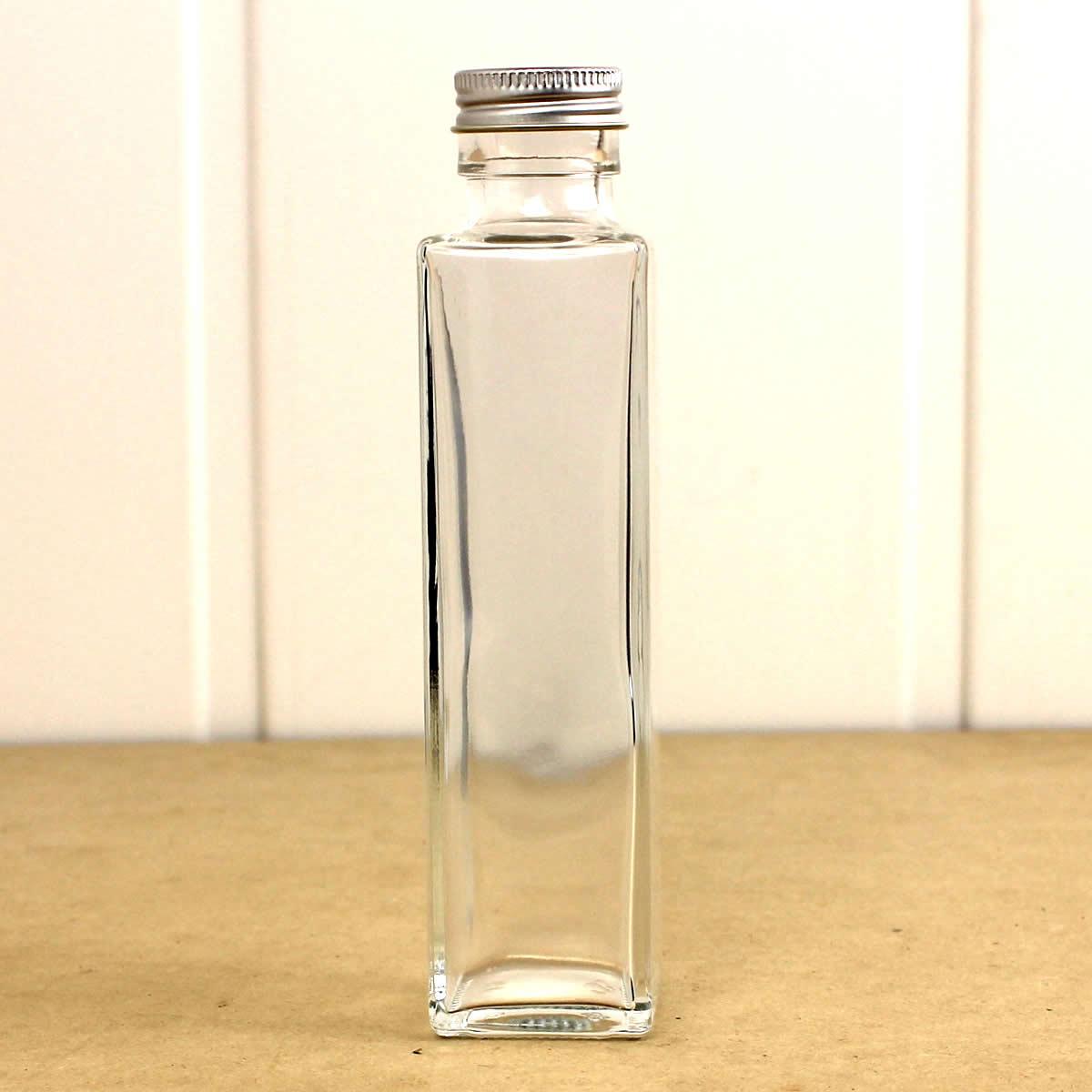 即日★ハーバリウム瓶(角) 150ml アルミ銀キャップ付【00】《花資材・道具 ハーバリウム材料 ハーバリウム オイル》