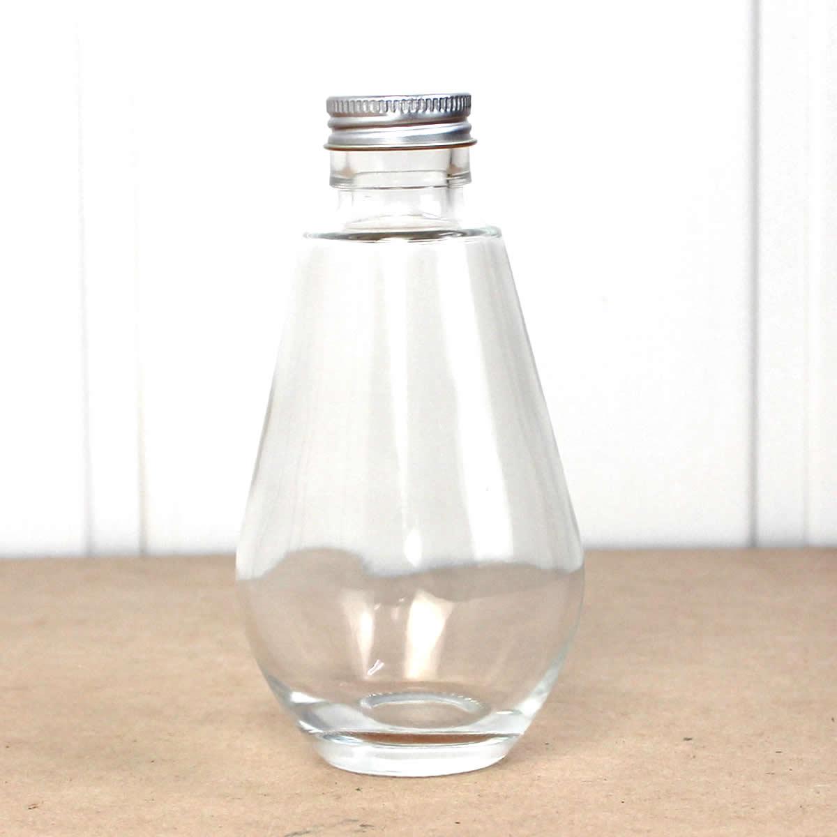 即日★ハーバリウム瓶(ドロップ) 200ml アルミ銀キャップ付【00】《花資材・道具 ハーバリウム材料 ハーバリウム オイル》