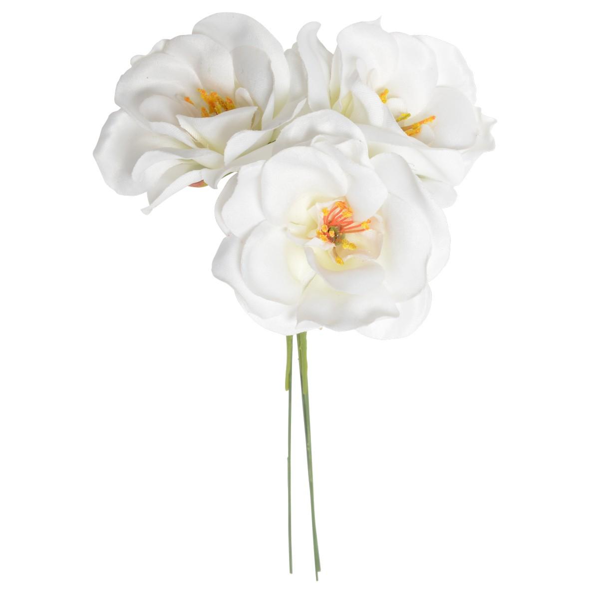 【造花】パレ/ミニカメリアピック ホワイト 3本セット/P-2019-10【01】【取寄】《 造花(アーティフィシャルフラワー) 造花 花材「た行」 ツバキ(椿) 》