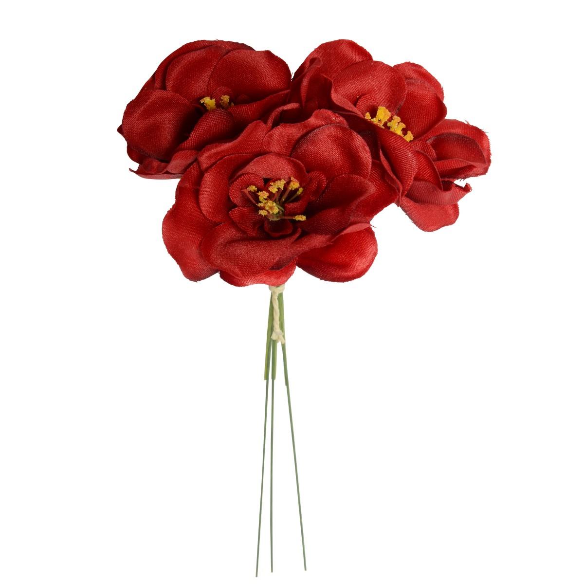 【造花】パレ/ミニカメリアピック レッド 3本セット/P-2019-50【01】【取寄】《 造花(アーティフィシャルフラワー) 造花 花材「た行」 ツバキ(椿) 》