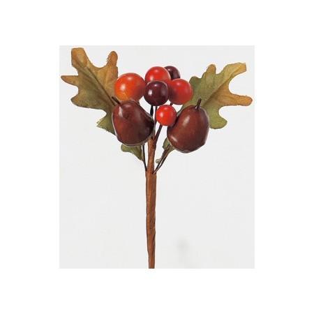 【造花】アスカ/ドングリミックスピック NO.046 ミックス/A-47678【01】【取寄】《 造花(アーティフィシャルフラワー) 造花実物、フェイクフルーツ 柿 》