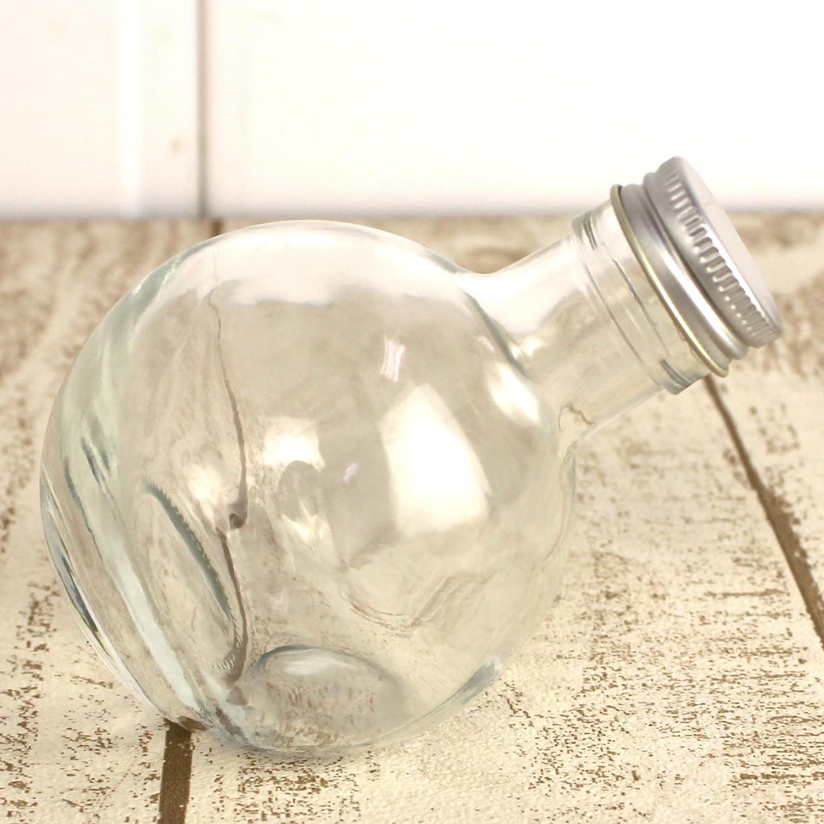 即日 ハーバリウム瓶(フラスコ)180ml アルミ銀キャップ付《花資材・道具 ハーバリウム材料 ハーバリウム オイル》