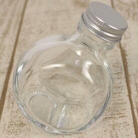 即日 ハーバリウム瓶(フラット)100ml アルミ銀キャップ付《ハーバリウム 瓶・ボトル ガラス瓶》