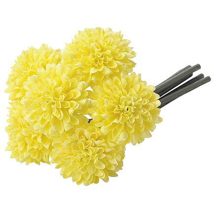 【造花】アスカ/ポンポンマムバンチ(1束6本) #010L イエローレモン/A-33164-310【01】【01】【取寄】《 造花(アーティフィシャルフラワー) 造花 花材「か行」 キク(菊)・ピンポンマム 》