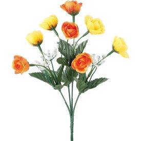 【造花】YDM/カスミ付きミニローズブッシュ イエローオレンジ/FB-2466-YOR【01】【01】【取寄】《 造花(アーティフィシャルフラワー) 造花 花材「は行」 バラ 》