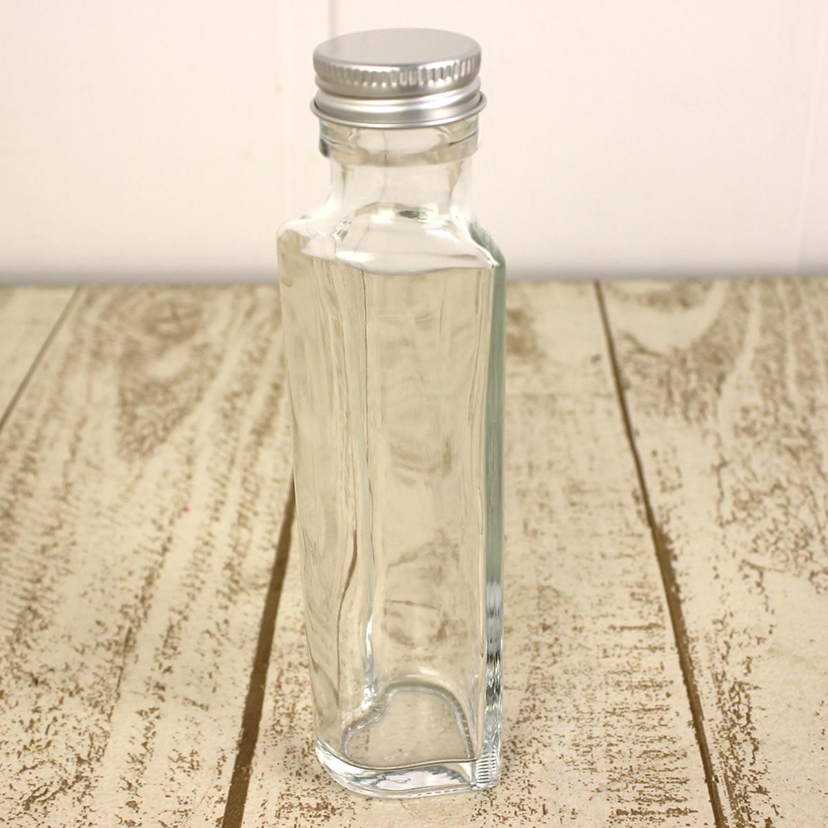 即日 ハーバリウム瓶(ハート)100ml アルミ銀キャップ付《花資材・道具 ハーバリウム材料 ハーバリウム オイル》