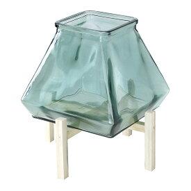SPICE/enrich ウッドスタンド付きスクエアガラスキャンドル用ベース グリーン/SRGH1130GR【01】【01】【取寄】