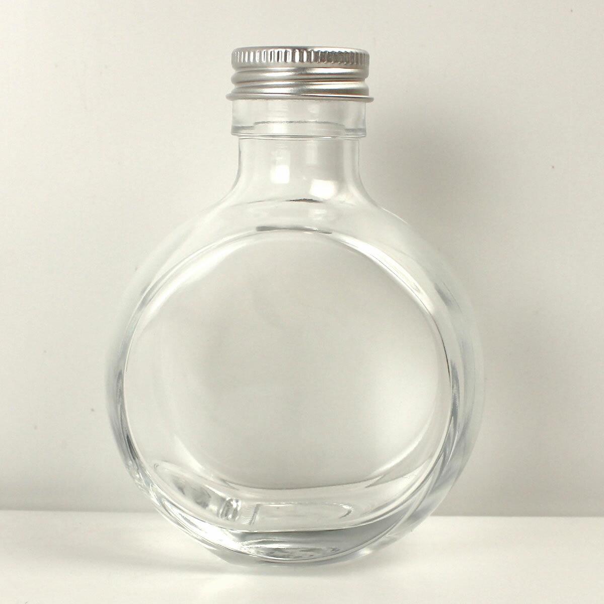即日 ハーバリウム瓶 (フラット)150ml アルミ銀キャップ付《花資材・道具 ハーバリウム材料 ハーバリウム オイル》