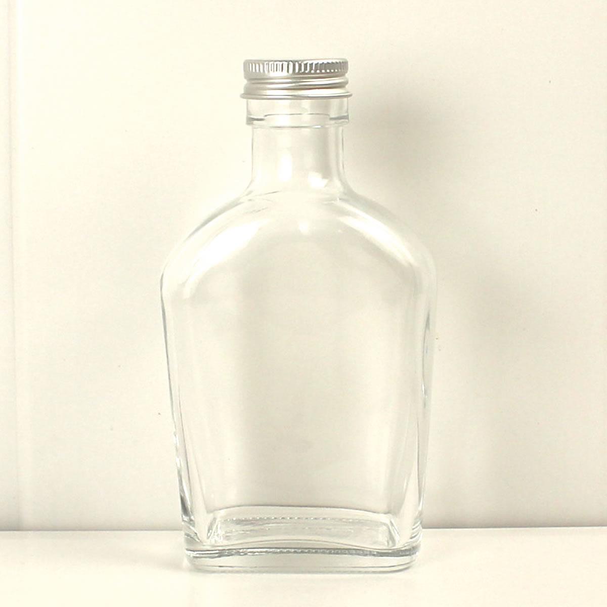 即日★ ハーバリウム瓶 (ウィスキー2:スキットル)200ml アルミ銀キャップ付《花資材・道具 ハーバリウム材料 ハーバリウム オイル》