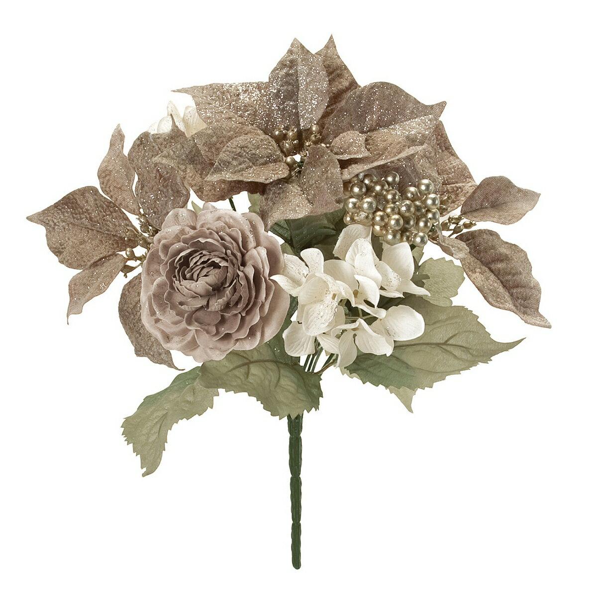 【造花】東京堂(MAGIQ)/フェミールポインミックスブッシュ #8 BR/CR/FX001532-008【01】【取寄】《 造花(アーティフィシャルフラワー) 造花 花材「は行」 ポインセチア 》