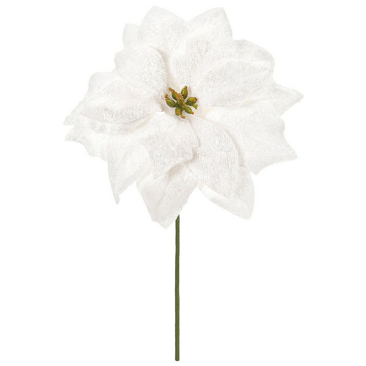 【造花】東京堂(MAGIQ)/ベレーナポインセチアピック #1 WHITE 4本/FX004681-001【01】【取寄】《 造花(アーティフィシャルフラワー) 造花 花材「は行」 ポインセチア 》